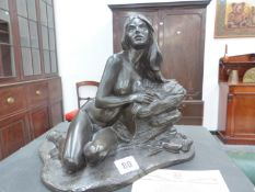 A BRONZE RESIN CASTING BY ROLAND CHADWICK AND TWO OTHERS.