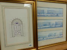 AN ARCHITECTURAL PRINT AND ONE OTHER.