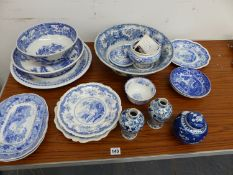 VARIOUS ANTIQUE BLUE AND WHITE CHINAWARES.