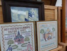 FRAMED TILES AND SAMPLER PICTURES.