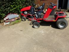 TWO RIDE ON LAWN MOWERS IN NEED OF RESTORATION.
