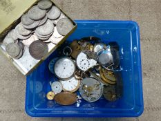 VARIOUS POCKET AND WRIST WATCH MOVEMENTS AND A QUANTITY OF COINS TO INCLUDE CROWNS, SHILLINGS SIX