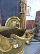 A QTY OF BRASSWARE TO INCLUDE COMPANION SET.