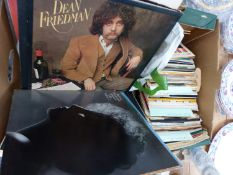 A QTY OF RECORD ALBUMS AND SINGLES.