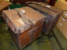 A SMALL LEATHER CARTRIDGE MAGAZINE, J.B.KINGSCOTE AND A WATSON BROS CARTRIGE TRANSPORT BOX.