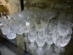 EIGHT WEBB CORBETT RED AND WHITE WINES TOGETHER WITH PART SETS OF OTHER DRINKING GLASS TO INCLUDE