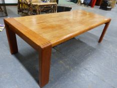 A MID CENTURY TEAK COFFEE TABLE LABELLED D-SCAN. 122 x 53 x H.38cms.