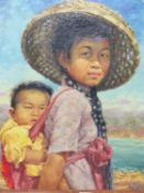 REINHOLD R ZELLER (1908-1977) ARR A CHINESE MOTHER AND CHILD, SIGNED AND DATED 1953, OIL ON BOARD.