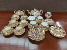 CROWN DERBY 2451 PATTERN IMARI PALETTE TEA WARES, A VASE, A DISH TOGETHER WITH SIX STEVENSON AND