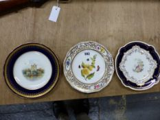 TWO CROWN DERBY PLATES, ONE PAINTED WITH ROSS CASTLE BY WILLIAM EDWIN MOSLEY. Dia 23cms. THE OTHER