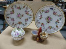 A PAIR OF PARIS PORCELAIN FLORAL PAINTED PLATES, A BERLIN COVERED BOWL SIMILARLY PAINTED AND A