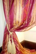 TWO PAIRS OF SILK BROCADE BURGUNDY DAMASK AND RUSSET STRIPE CURTAINS. TOP FLAT WIDTH OF EACH PAIR