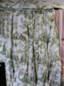 TWO PAIRS OF GREEN PATTERNED LINED AND INTERLINED CURTAINS WITH ASSOCIATED PELMETS.