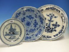 THREE DELFT BLUE AND WHITE PLATES, THE LARGEST. Dia. 34cms TOGETHER WITH A JAPANESE IMARI DISH. Dia.
