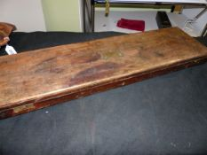 A MAHOGANY GUN CASE WITH BRASS DROP IN HANDLE, INTERIOR STRIPPED TOGETHER WITH NON MATCHING