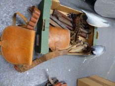 A BOX OF THREE GAME CARRIERS, TWO CARTRIDGE BELTS, THREE RABBIT SNARES, ONE RABBIT NET, TWO PIGEON