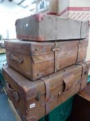 A LARGE LEATHER SUITCASE AND OTHER LUGGAGE. (QTY)
