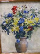 20th.C.SCHOOL. A STILL LIFE OF SUMMER FLOWERS, SIGNED INDISTINCTLY, OIL ON BOARD. 47 x 39cms.