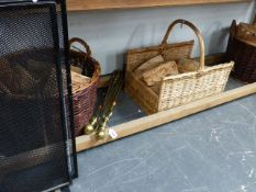 A PAIR OF MESH FIREGUARDS, THREE WICKER LOG BASKETS WITH LOGS, TWO BRASS COMPANION SETS,ETC. (QTY)