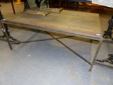 A MODERNIST COFFEE TABLE WITH SQUARE SECTION WROUGHT IRON BASE AND OAK PLANK TOP. 120 x 80 x H.