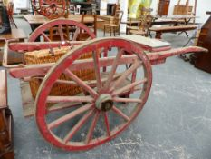 A 19th.C.HEAVY DUTY BARROW CART, POSSIBLY FOR A FIRE BOWSER.