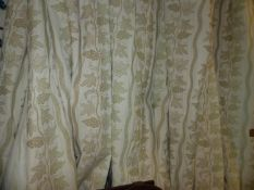 THREE PAIRS OF GRAPE VINE PATTERN LINED AND INTERLINED CURTAINS WITH ASSOCIATED PELMETS.