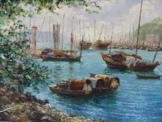 REINHOLD R ZELLER (1908-1977) ARR HARBOUR VIEW, POSSIBLY HONG KONG, SIGNED AND DATED 1956. OIL ON