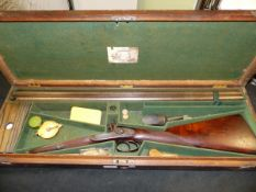 GEO.FORREST & SONS. DB 14B PERCUSSION SHOTGUN No.824 IN OAK CASE WITH ACCESSORIES