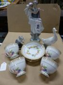 A LLADRO BRIDE AND GROOM GROUP. H 27cms. A LLADRO CAT AND MOUSE, A NAO GOOSE AND FOUR BERESFORD CUPS
