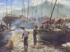 REINHOL R ZELLER (1908-1977) ARR THE BOATYARD, POSSIBLY HONG KONG, SIGNED AND DATED 1854, OIL ON
