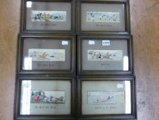 SIX FRAMED AND MOUNTED STEVENGRAPHS, FOUR FEATURING HORSES, ONE A LIFEBOAT AND THE LAST RUGBY. H 5 X