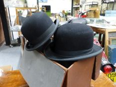 A BOXED CHRISTY'S IMPERIAL BOWLER HAT SIZE 6 5/8 TOGETHER WITH A DUNN & CO. BOWLER HAT.