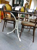 A PLATE GLASS TOP DINING TABLE STANDING ON TWIN FAUX BAMBOO TRIPOD SUPPORTS. 88 x 200 x H.74cms.