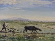 REINHOLD R ZELLER. (1908-1977) ARR RICE FARMER WITH WATER BUFFALO, SIGNED AND DATED 1956, OIL ON