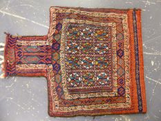 A PERSIAN TRIBAL FLAT WEAVE BAG. 70 x 53cms.