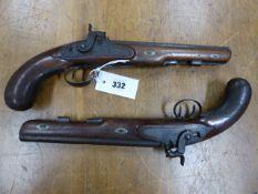 A PAIR OF 19th.C.MUZZLE LOADING PERCUSSION TARGET PISTOLS, RIFLED BY BALDWIN.