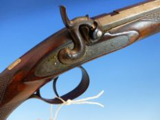 A 19th.C.PERCUSSION RIFLE WITH 73.5cms OCTAGONAL DAMASCUS BARREL SIGNED G.MANLY-MAKER, ENGRAVED