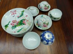 A CHINESE FAMILLE ROSE LOTUS PAINTED PART SERVICE TOGETHER WITH TWO BLUE AND WHITE BOWLS PAINTED