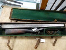 C LANCASTER, LONDON DB 14B PERCUSSION SHOTGUN No.3018, No.2 OF A PAIR, GRIP SAFETY, MAIN SPRING