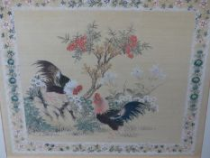 TWO CHINESE WATERCOLOURS ON SILK OF CHICKENS AMONGST FLOWERS. 40.5 x 46 AND 26 x 29cms.