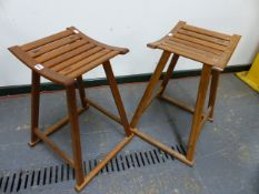 A PAIR OF ARTS AND CRAFTS HAND-MADE SLAT TOP STOOLS. H.60cms.