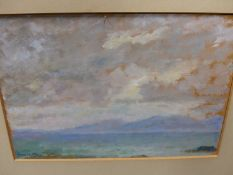 CHARLES MCCARTHY. ENGLISH 20th.C. ARR. JURA, SIGNED OIL ON BOARD. 15.5 x 22.5cms TOGETHER WITH TWO