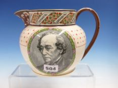 A WEDGWOOD JUG COMMEMORATING THE DEATH OF BENJAMIN DISRAELI IN 1881, HIS BOOKS NAMED ON A FLORAL RIM