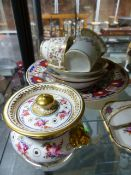A COLLECTION OF 19th C. ENGLISH PORCELAIN WARES TO INCLUDE: WORCESTER, COALPORT AND DAVENPORT TEA