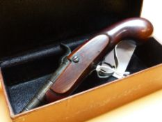 A LEATHER BOXED SEALBY TURN OFF BARREL PERCUSSION CAP PISTOL, THE TRIGGER GUARD OF BRASS, THE