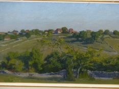 F.A.LE M-----20th.C. ARR. A HILLTOP FARM, SIGNED AND DATED 1972, OIL ON CANVAS. 30 x 60cms.