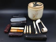 A SELECTION OF CASED AND OTHER CHEROOT HOLDERS TO INCLUDE THREE WITH 9ct GOLD MOUNTS,A QUANTITY OF