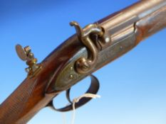 A GOOD 19th.C.PERCUSSION .50Cal. TARGET RIFLE WITH 72.5cms ROUND DAMASCUS BARREL UNSIGNED ENGRAVED