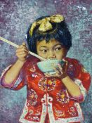 REINHOLD R ZELLER. (1908-1977) ARR A YOUNG CHINESE GIRL EATING WITH CHOPSTICKS, SIGNED AND DATED
