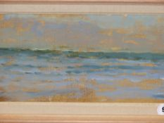 ATTRIBUTED TO MARTIN YEOMAN. (1953-****) ARR. WHITE SANDS BAY, INSCRIBED VERSO, OIL ON BOARD. 18.5 x